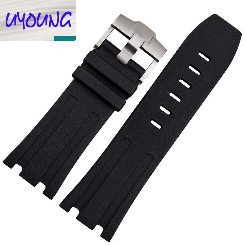Natural Rubber Wacthband  28MM Retro Black Silicone Strap For Royal tree strap For A P Rubber Wacthband|strap shoulder|strapping material|strap top - title=