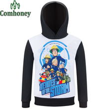 Fireman Sam T Shirt for Boys Long Sleeve Shirts Teen Cartoon T-shirt for Teenagers Kids Brand Spring Autumn Baby Girls Clothes