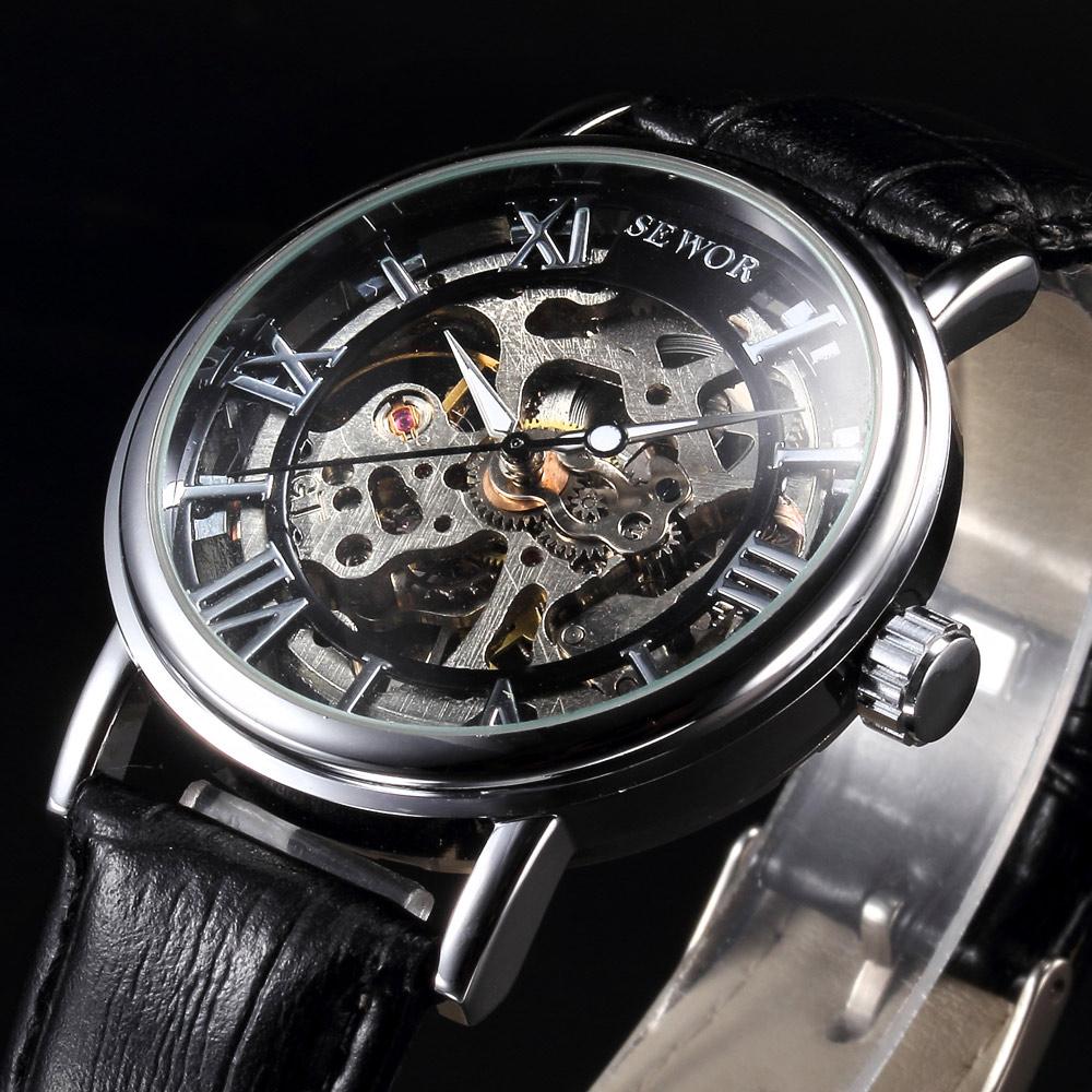 Prix pour Casual nouveau squelette creux sewor marque design de mode mécanique hommes de luxe homme d'affaires en cuir poignet armée sport cadeau montre