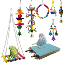 8 PCS Combination Parrot Toy Birds Articles Bite Color Bird Hanging Bell Cage Funny Chain Swing Pet Supplies