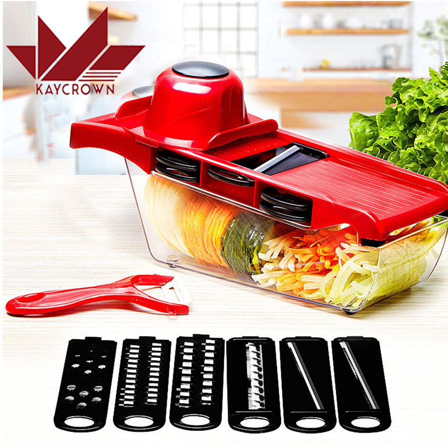 New Adjustable Fruit Vegetable Slicer Cutter Stainless Steel Blades Carrot Potato Onion Graterr 6 Blades Kitchen