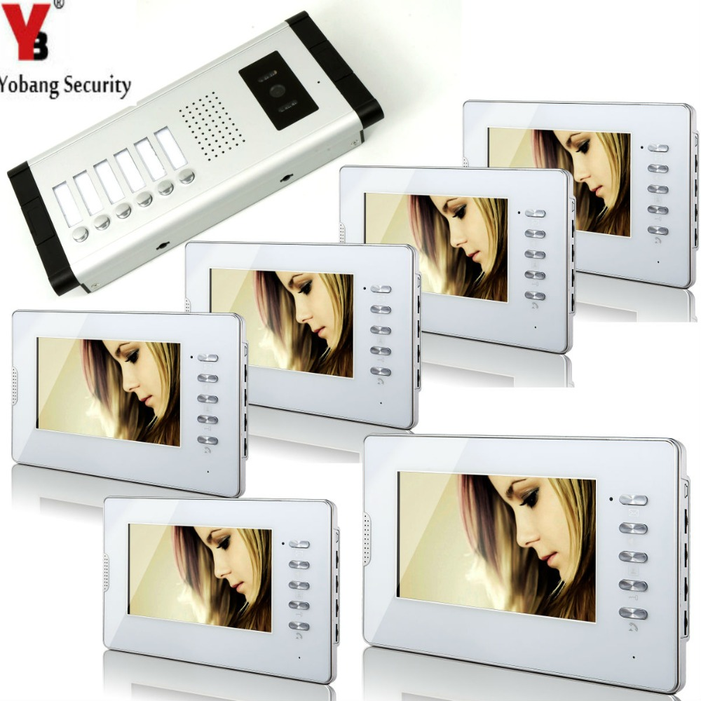 YobangSecurity White 7 Inches Color Wired Video Doorbell Door Chime,Rainproof Door Phone For 6 Units Villa Apartment Intercom