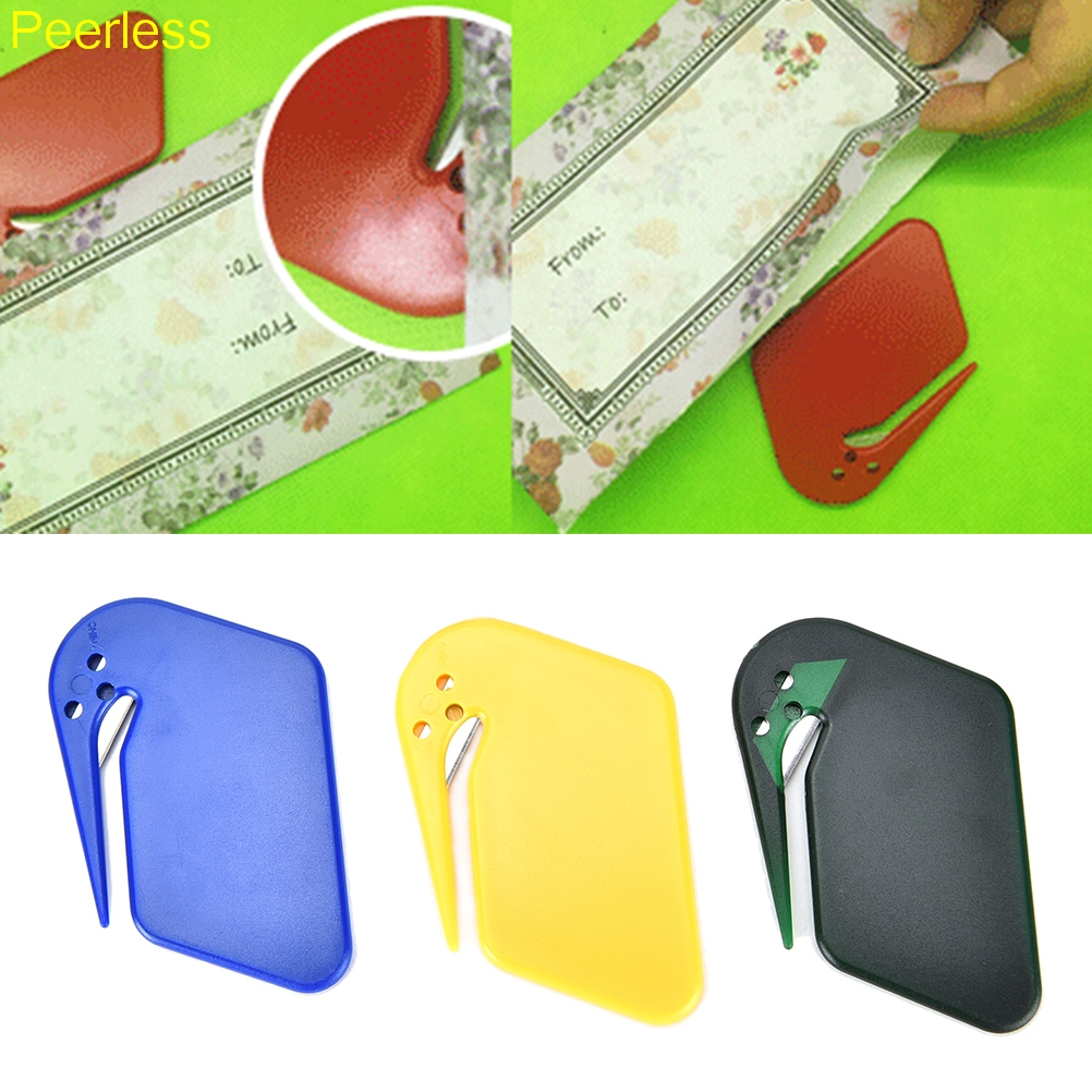 Peerless Durable Plastic Letter Mail Envelope Opener Mini Letter Knife Office Equipment Safety Paper Guarded Cutter Blade Color Letter Opener Office & School Supplies
