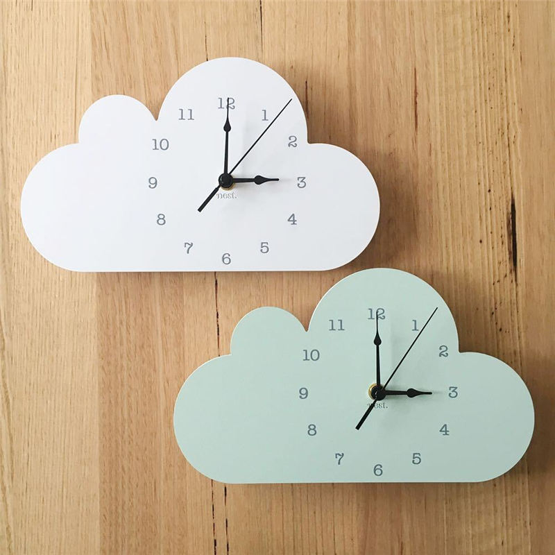 Nordic Wooden Wall Clock Watches Cartoon Animal Cloud Crown Shape Mute DIY Clocks For Home Living Room Bar Decor Children Gifts