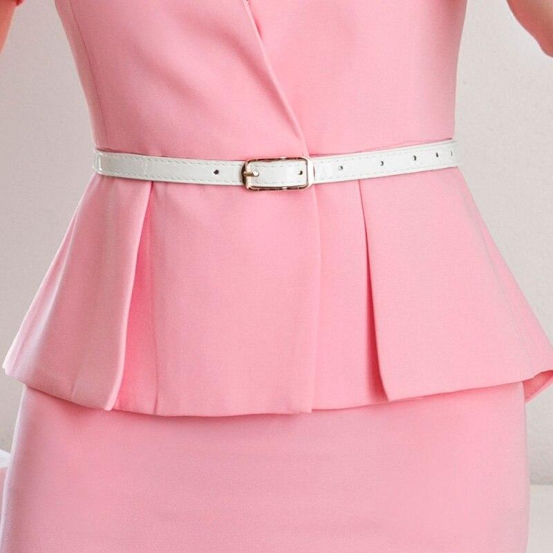 Style À D'affaires Solide Ol Courtes Manches Skirt De Mince Skirt Soirée Couleur Femmes Tenue Veste Pink Skirt Acrmrac Jacket white Jupe Costume Nouveau D'été black Régulier Costumes XE8qOf