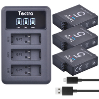 Tectra 3PCS AHDBT 501 Go Pro HERO5 Li Ion Battery LED Display 3 Channel USB Charger