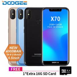 Новый DOOGEE X70 смартфон лица 5,5 & #39 & #39 u-вырезка 19:9 MTK6580 4 ядра 2 Гб Оперативная память 16 Гб Встроенная память двойной Камера 8.0MP Android 8,1 40