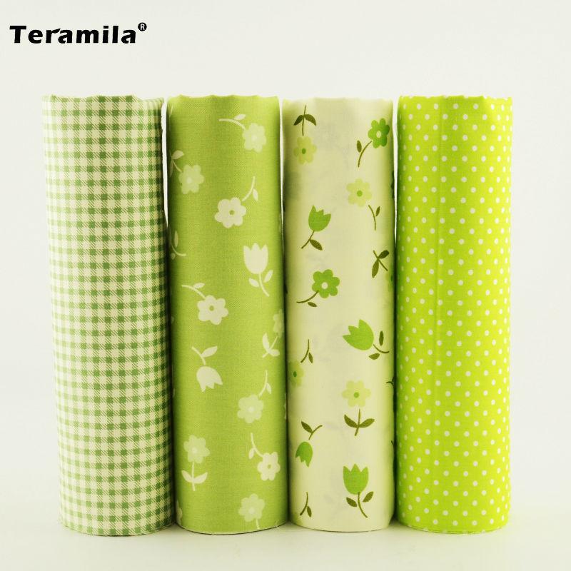 4 stks Groene Kleur Check / bloemen / stippen Ontwerp 100% Katoen - Kunsten, ambachten en naaien