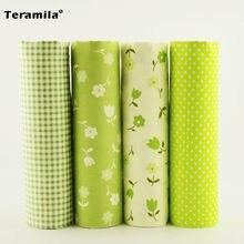 4pcs Green Color Check/flowers/dots Design 100% Cotton Fabric Twill Scrapbooking Cloth Fat Quarters 40cm*50cm Teramila Fabric