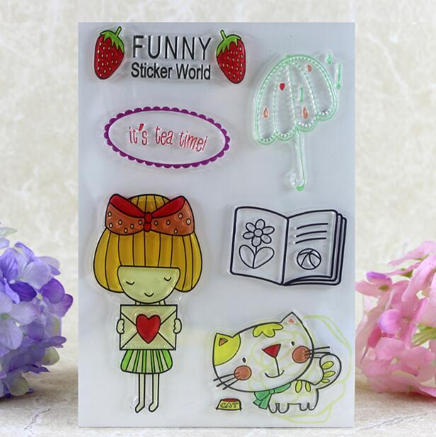 Scrapbook DIY Photo Album Card Rubber Chapter Transparent Seal Cartoon lovely girl Clear Stamp 72 scrapbook diy photo album card rubber chapter transparent seal month permanent calendar clear stamp 136