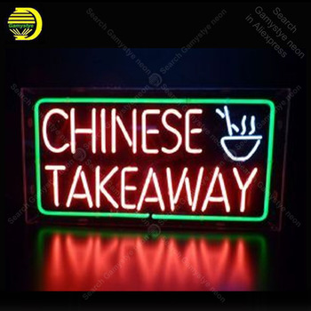 Neon Sign for chinese fast food restaurant Neon Tube sign glass handcraft Decor windows Nean Sign light lamp Letrero Trade mark