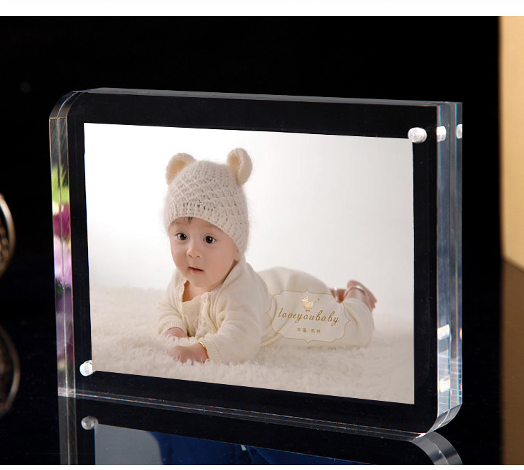Free standing Double Sided Seethrough Acrylic Magnetic Photo Picture ...