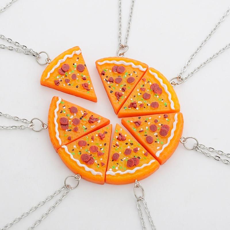 7 kom / set Ogrlice s privjeskom za pizze Privjesci za ključeve Najbolji prijatelji zauvijek ogrlica za muškarce Žene Obiteljsko prijateljstvo Nakit za poklon