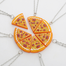 7 pcs/set Pizza Pendant Necklaces Keychain Keyring Best Friends Forever Necklace for Men Women Family Friendship Jewelry Gift