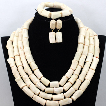 New Cream White African Costume Jewelry Set Beauty African Coral Beads Wedding Jewelry Set For Woman Free Shipping CNR444