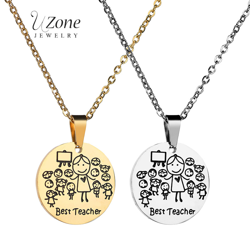 UZone Stainless Steel Best Teacher Cartoon Pendant Necklace Women Souvenir Jewelry Student Round Pendant Gift la mejor profesora