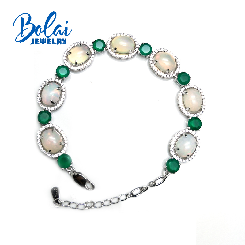 Bolaijewelry,Natural opal and green agate 4ct gemstone Bracelet 925 sterling silver fine jewelry  women daily wear party gift