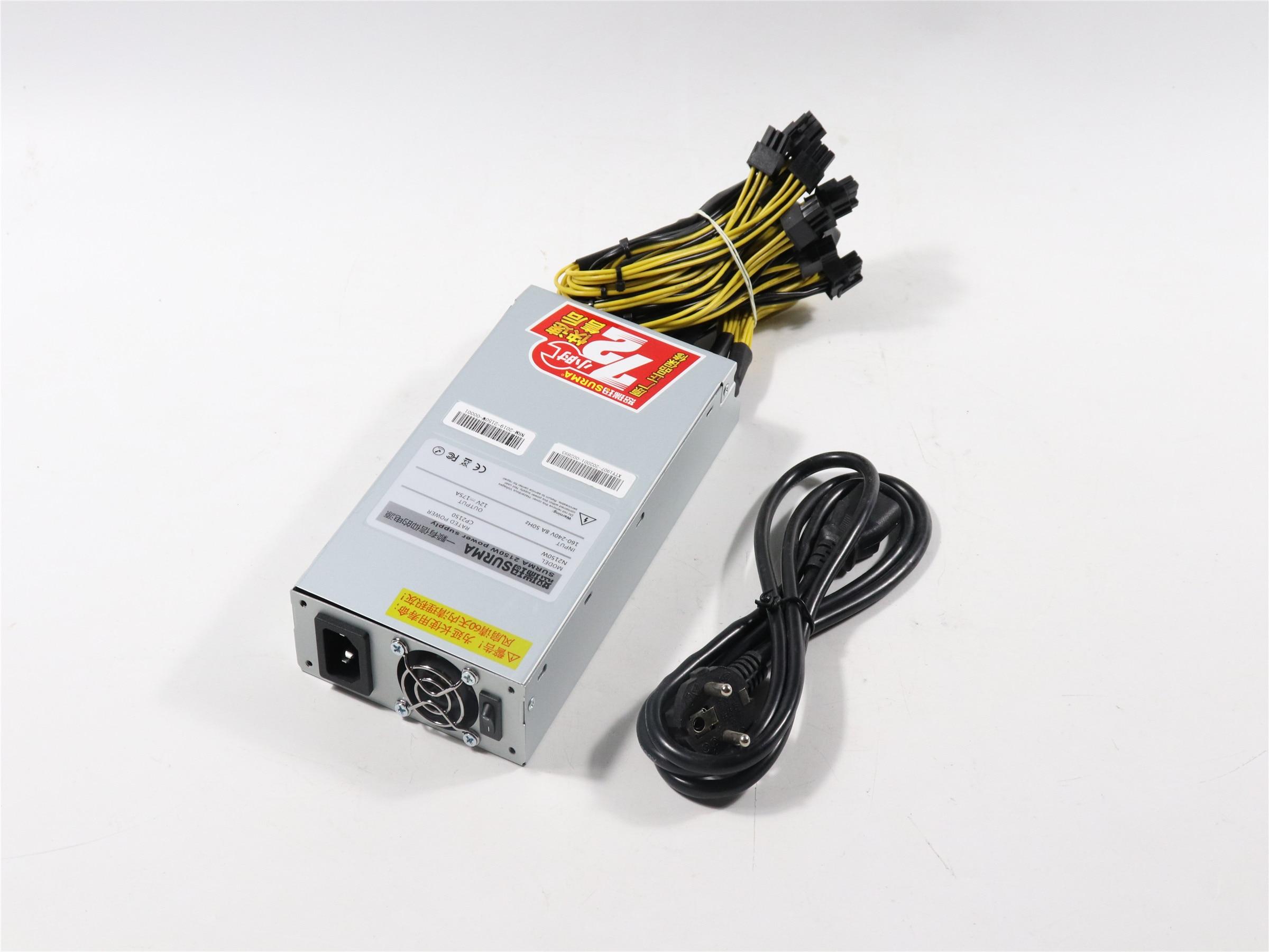Nouveau ZEC BTC LTC DASH Miner alimentation 2150W pour Antminer S9 S9j S9k S9 SE L3 + E3 Z9 Z11 T9 Innosilicon A9 Ebit E9i ETH PSU
