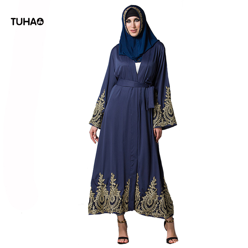 TUHAO Gold Lace Patchwork Long Cardigan Femme Robe Open Stitch V-neck High Waist 5XL Plus Size   Trench   Coats For Women TB1495