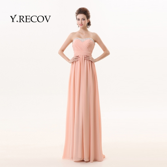 Sale Evening Dress YD2303 A line Sweetheart Chiffon Dusty Pink ...