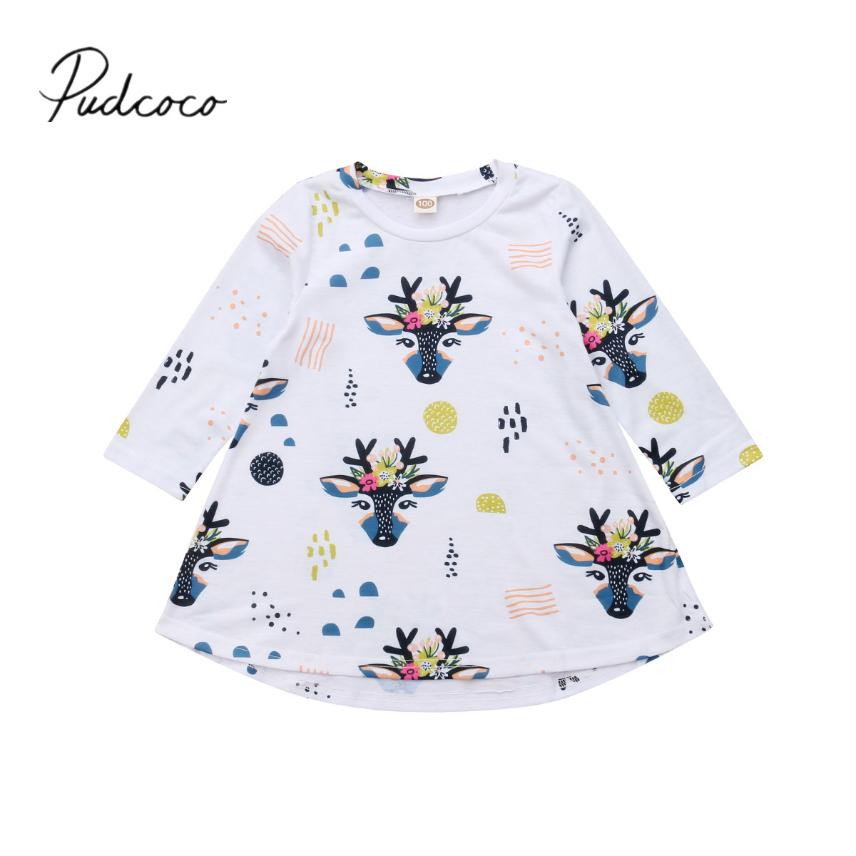 2018 Brand New 1-5Y Toddler Baby Girls Princess Autumn Dress Long Sleeve Cartoon Deer Floral Knee-Length A-Line Cotton Dress