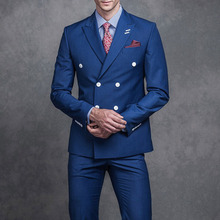 Blue Business Men Wedding Suits Double Breasted Peaked Lapel Two Pieces Jacket+Pants 2017 smoking Formal Groom mens suit Tuxedo