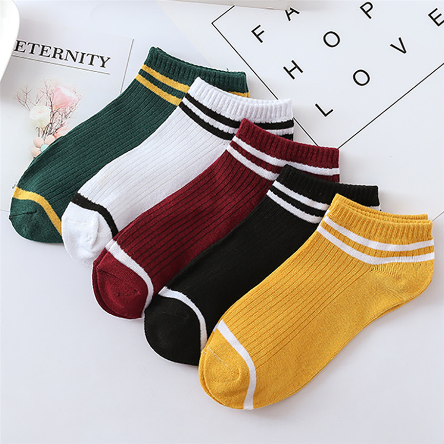 1Pairs Casual Unisex Stripe Comfortable Cotton Sock Slippers Short Ankle Socks