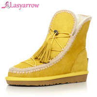 Lasyarrow Women Ankle Boots Cow Suede 2017 Winter Snow Boots Cross Tied Platform Black Yellow Warm