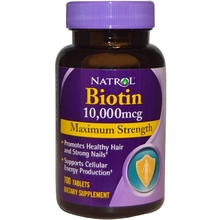 Natrol Biotin Maximum Strength 10000 mcg (100 Tablets) -B-vitamin support for hair nails & energy production Free Shipping(China (Mainland))