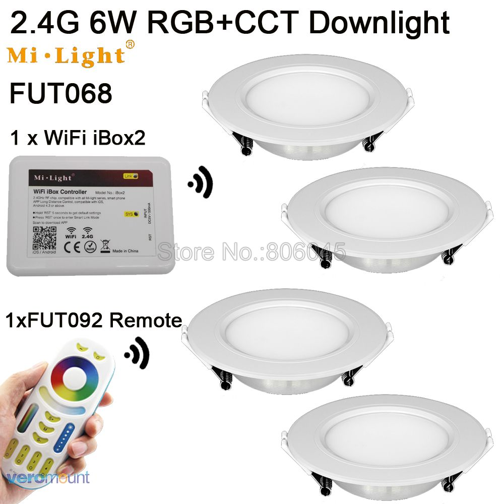 FUT068 AC85-265V Milight 2.4G 6W RGB + CCT WiFi Compatible Smart LED Downlight 2.4G Control remoto inalámbrico de 4 zonas de Android / iOs APP