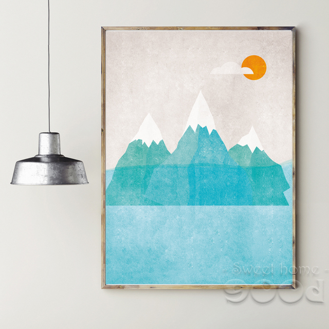 Vintage Cartoon Mountain Canvas Art Print Painting Poster Wall Pictures For Home Decoration Nursery