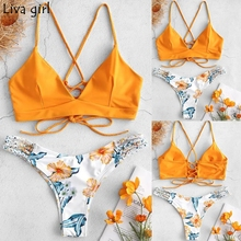 3649aa0ed1 Liva girl Bikini Low Waisted Push-Up Two-Piece Sexy Pad Bandage Beachwear  Suits