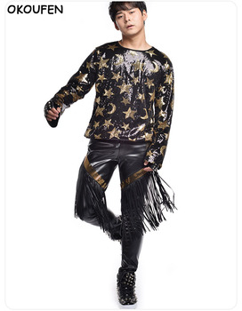 Men Stars printed Long Sleeve T-Shirt Personality Sequin Concert Pop Dance Costume Nightclub Male Singer DJ Stage performance