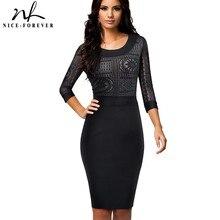 Nice-para sempre Do Vintage Bordados Rendas Sexy Ver através da luva Vestir para Trabalhar vestidos de Escritório Mulheres de Negócios Bodycon Vestido B423