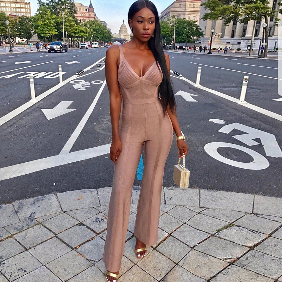 2018 Newest Summer Celebrity Party Bandage Jumpsuit Women Spaghetti Strap V Neck Sexy Full Length Jumpsuit Women Wholesale