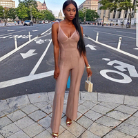 Newest Summer Celebrity Party Bandage Jumpsuit Women Spaghetti Strap V Neck Sexy NightClub Full Length Jumpsuit Women Vestidos
