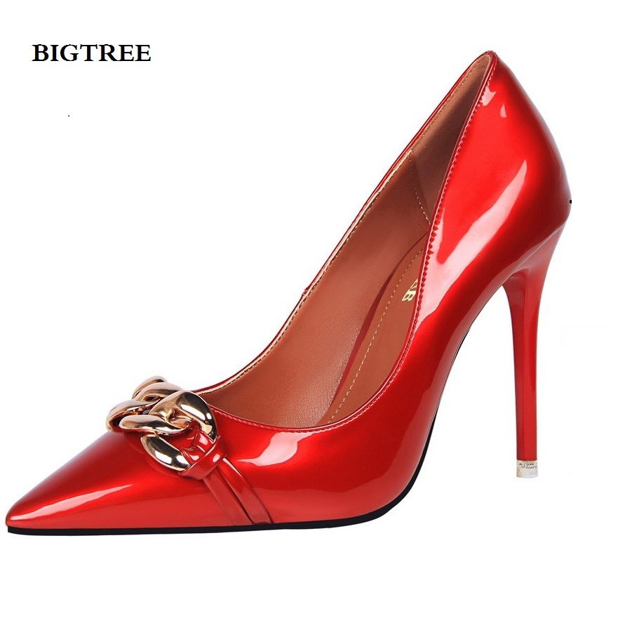 high heel pumps shoes ankle strap thin heels red pumps women shoes ladies black Sexy nightclub Shallow mouth metal chain buckle women high heels shoes sexy pumps nightclub shallow thin heel 10 5cm 8 5cm women s glitter leather pump silver wedding shoes