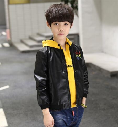 Children s clothing boy winter leather jacket 2018 new autumn and winter plus velvet thicken big