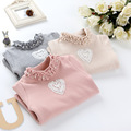 Kids Winter Clothing Baby Girls Turtleneck T-shirt Grey Pink Beige Pearl heart T-shirt For Girl Fleece Thickening Turtleneck Top