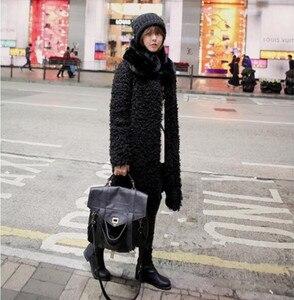 Image 3 - O pescoço do vintage encaracolado círculo peludo salsicha falso pele de ovelha casaco longo 2018 novo inverno manter quente longo jaqueta outwear coréia roupas