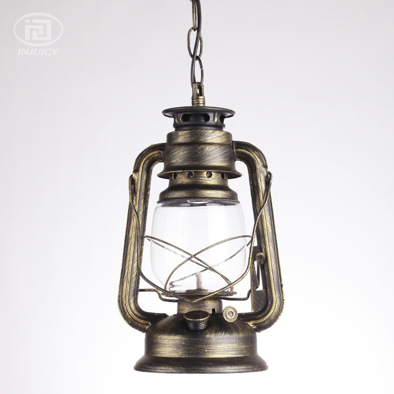 Vintage Edison Industrial Antique Lantern LED Pendant Lights Wrought Iron Glass Oil Kerosene Lights Waterproof Ceiling Lamp one light frosted glass antique rust hanging lantern