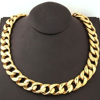 18mm High Quality 316L Stainless Steel Gold Tone Snake Pattern Cut Cuban Curb Chain Men's Necklace Jewelry 22.5 Fashion Gift