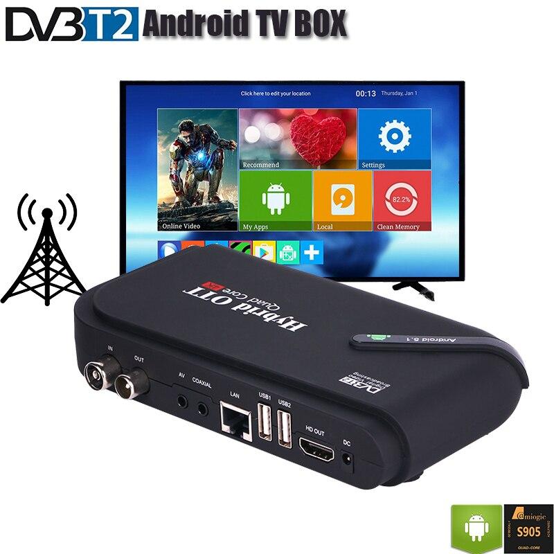 DVB T2 Android TV BOX double Mode récepteur de DVB-T2 décodeur OS Aandroid 5.1 Amlogic S905 Quad Core DVB T2 4 K affichage H.265