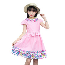 Girls Dress 2020 Summer Bow Knot Front Flower Dresses For Children Girls Pink Peter Pan Collar Dress 5 6 7 8 9 10 11 12 13 Years cute short pink and white flower girl dresses peter pan collar knee length baby girls summer dress 1st birthday outfit with bow