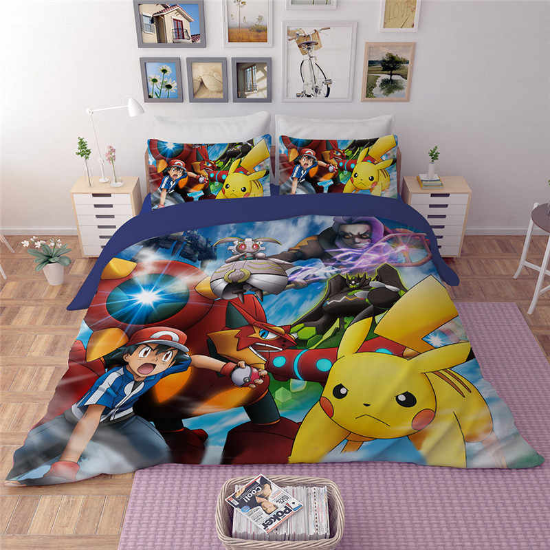 LLANCL Anime Pikachu cartoon Print  Quilt/Duvet/Comforter cover Pillowcase Adult/Children Bedroom 3p Polyester Brithday Gift