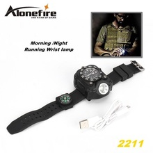 2211 Tactical Compass FlashLight Rechargeable Q5 LED Watch Flashlight Wristlight Waterproof Wrist Lighting Lamp Outdoor 800LM
