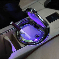 Car Styling Car Cigarette Ashtray With LED Lamp For Skoda Octavia Yeti Roomster Fabia Rapid Superb