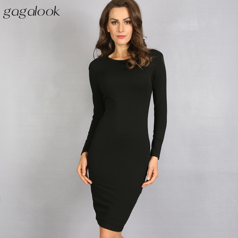 gagalook Bodycon Women Long Sleeve Sexy Black Midi Dress