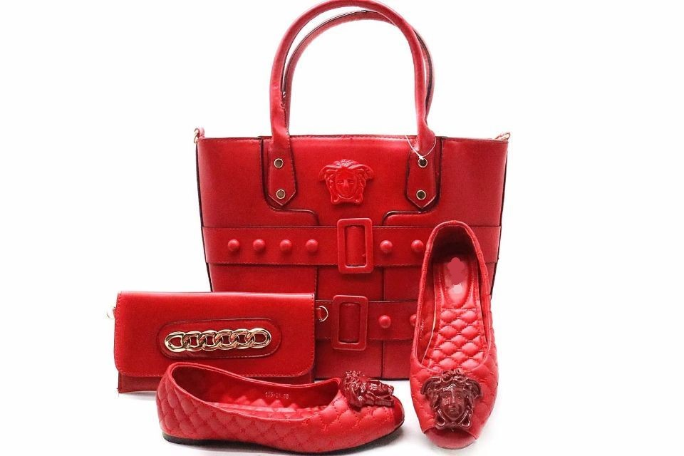 9e6a878e0a9cd Top sale red women shoes with two big bag set african shoes match handbag  set for