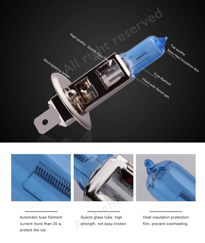 2pcs H1 H3 H4 H7 H11 9004 9005 HB3 9006 HB4 9007 55W 12V הלוגן רכב פנס נורות סופר מואר אוטומטי מנורת פנס 5000K לבן